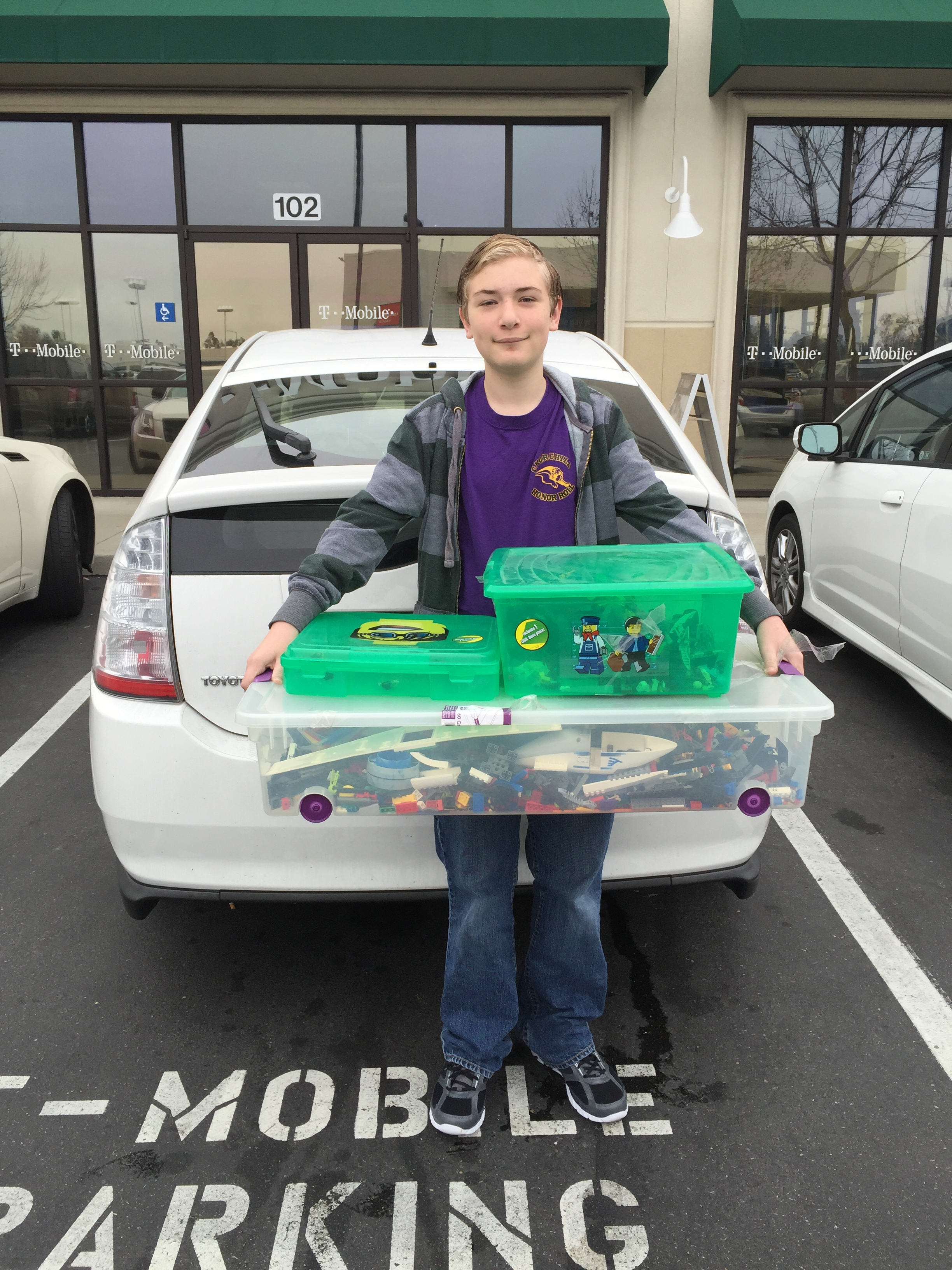 Alex Morse with his LEGO donation.